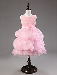 Ball Gown Knee-length Flower Girl Dress - Cotton / Organza Sleeveless Jewel with