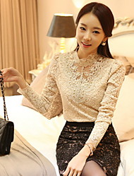 Women's Lace Crochet Black/Beige Blouse, Vintage Stand Collar Long Sleeve