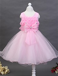Ball Gown Knee-length Flower Girl Dress-Cotton / Tulle Sleeveless