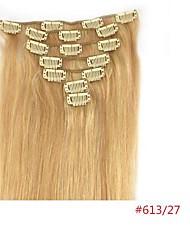 22 '' de les clips dans les extensions de cheveux humains mélangés 27/613 70g blonde pour la beauté de hairsalon des femmes dans la mode