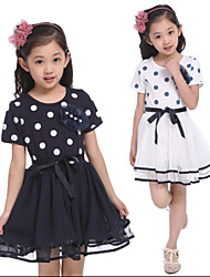 Girl's Polka Dots Chiffon Short Sleeve Dresses