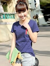 Women's Solid Color Stitching Pocket Digital Printing Cotton T Shirts(More Colors)