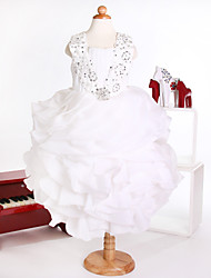 Princess Ankle-length Flower Girl Dress - Organza Sleeveless Straps with