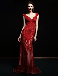Formal Evening Dress Ball Gown Straps Sweep / Brush Train Lace / Tulle with Beading / Lace