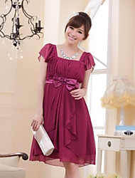 Knee-length Chiffon Bridesmaid Dress - A-line / Princess Square with