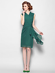 Lanting Sheath/Column Plus Sizes / Petite Mother of the Bride Dress - Dark Green Knee-length Sleeveless Chiffon