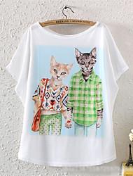 sharon Frauen Casual-Flügelhülse Muster t-shirts
