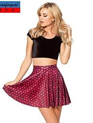 falda de la manera mediados impresión de la cintura falda plisada todo-fósforo ocasional ropa underdress de cmfc®women