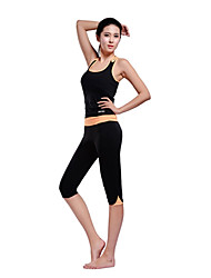 Mujer Yoga Trajes Sin Mangas Verde / Naranja Yoga M / L / XL