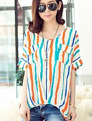 Women's Round Collar Fashion Stripes T-Shirt