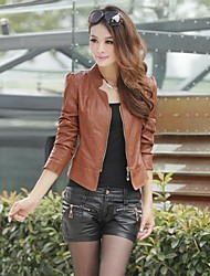Women's Slim Washed Leather Motorcycle Jacket