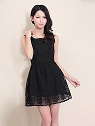 Women's Lace Cute Inelastic Sleeveless Knee  Length Dress