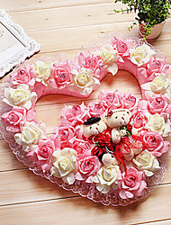 "15.7"" Rural Style Pink White Heart-Shaped Simulation Flower Garland with Toy Bears Plastic Garland"
