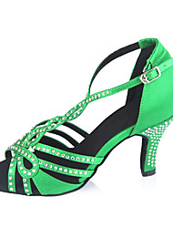Customizable Women's Dance Shoes Latin Satin Customized Heel Green