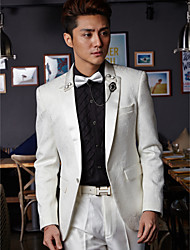 Tuxedos Tailored Fit One-Button Cotton/Polyester Patterns 2 Pieces White
