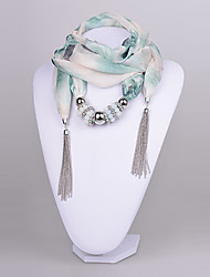 D Exceed Women's  Polyster Scarf necklace CCB Ring & Jade Bead Scarf Necklace with tassels