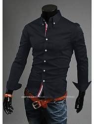 men's casual shirts solid color cotton webbing decoration concise fashion shirt size M-XXL