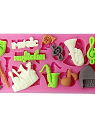 FOUR-C Silicone Cup Cake Mold Musical Instruments Sugarpaste Mould Color Pink