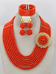 African Beads Jewelry Set Nigerian Beads Jewelry Set for Wedding 2015 Fashion Jewelry Set