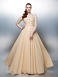 Homecoming Prom/Formal Evening Dress - Champagne A-line Jewel Floor-length Chiffon