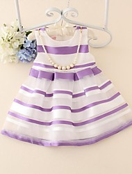 Girl's Summer Elegent Pearl and Striped Above-knee Medium Sleeveless Dresses