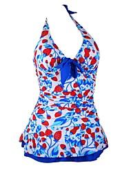 Woman's Strawberry Halter Padded Swimwear Swimdress Tankini Top with attached bottom
