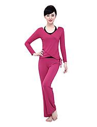Mujer Yoga Tops Mangas largas Transpirable / Listo para vestir / Capilaridad / Compresión Rojo / NegroYoga / Fitness / Deportes