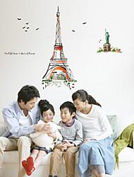 paris cartoon sticker mural PVC amovible environnement
