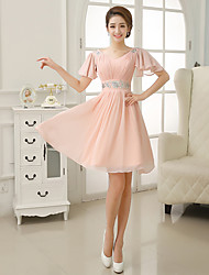 Dress - Blushing Pink A-line V-neck Knee-length Chiffon