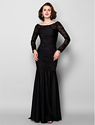 LAN TING BRIDE Sheath / Column Plus Size Petite Mother of the Bride Dress - Beautiful Back Sweep / Brush Train Long Sleeve Lace Jersey