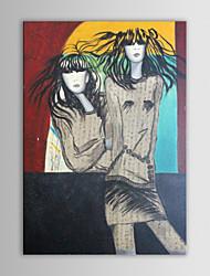 iarts pintura a óleo da lona povos abstratos gêmeos moda pintados à mão modernos, com quadro esticado