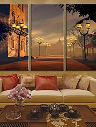 E-HOME® Stretched LED Canvas Print Art City Street Lamps Flash Effect LED Flashing Optical Fiber Print Set of 3