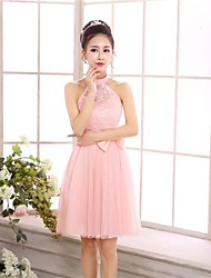 Knee-length Chiffon / Tulle Bridesmaid Dress A-line / Princess Halter