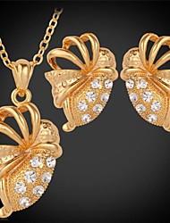 u7® bonitos brincos de pingente de borboleta colar de ouro de verdade 18k banhado strass conjunto de jóias para as mulheres de alta qualidade