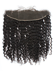 """13 """"x4"""" fermeture de cheveux brésiliens 12inch crépus bouclés partie libre de dentelle de cheveux humains fermeture frontale 1pc vierge"""