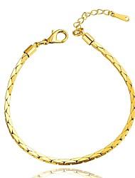 Simple Generous Women's Triangular Combination Brass Gold Plated Chain & Link Bracelet(Golden)(1Pc)