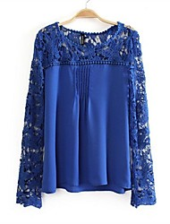 Women's Hook Flower Bud Silk Hollow Out Chiffon Shirt