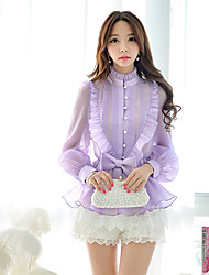 Women's Work Long Sleeve Ruffles Bow Medium Tops & Blouses (Polyester)