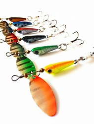 Top Quality Lead Fish Spinner Bait Metal Fishing Lure 5.9-7.5g 12pcs with Fly Hooks Random Color