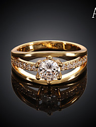 Ring Wedding / Party / Daily / Casual / Sports Jewelry Gold Plated Women Statement Rings 1pc,7 / 8 Rose Gold / Yellow Gold