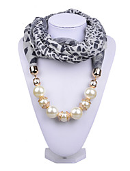 D Exceed   Ladies Necklace Scarfs Fashion Jewelry Classic Black Leopard Print Chiffon Wraps with Pearl Beads Pendant