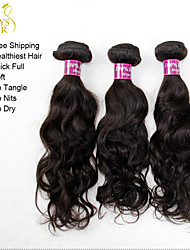 "3Pcs Lot 12""-28"" Unprocessed Indian Virgin Hair Water Wave Wavy Natural Black Remy Human Hair Weave Bundles Tangle Free"
