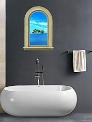 Adesivos de parede adesivos de parede 3D, cenário ilha banheiro decoração mural pvc adesivos de parede