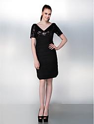 Dress - Black Plus Sizes / Petite Sheath/Column V-neck Knee-length Stretch Satin / Sequined