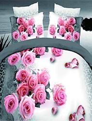 Shuian® Duvet Cover Set,3D Flower Bedding Bed Sheet Real Flowers Style 4Pcs Bedcover Bedding Bed Sheet
