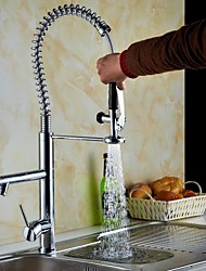 Solid Brass Single Handle Spring Pull Down Kitchen Faucet