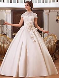 A-line Floor-length Wedding Dress -High Neck Lace