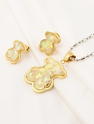 Fashion Color Glass Bear 316L Stainless Steel(Necklace&Earrings) Jewelry Set