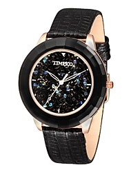 TIME100 Women's Rhinestone Dial Ceramic Case Leather Strap Waterproof Quartz Bracelet Watch(Assorted Colors)