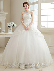 Ball Gown Wedding Dress - Ivory Floor-length Strapless Organza